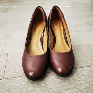 Clarks Burgundy Block Heels